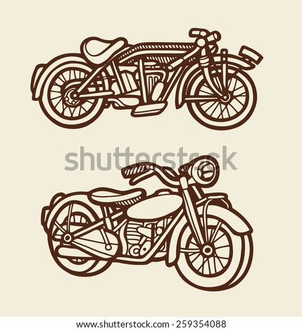 Classic motor cycle artistic sketch. Vintage color. Good use for illustration design, T-Shirt design, icon, vintage design, symbol, or any design you want. Easy to use, each object is a group. - stock vector