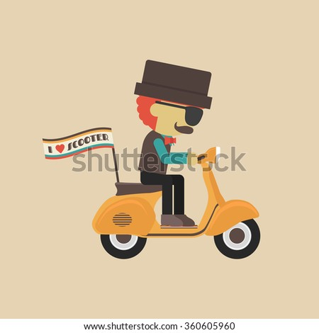 classic motorcycle, retro vehicle with hipster - stock vector