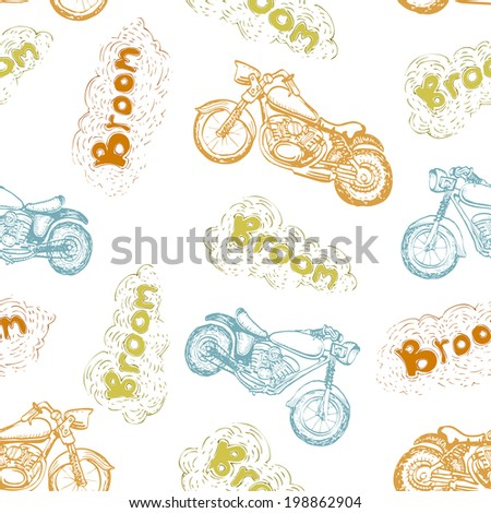 classic motorcycle seamless pattern - stock vector