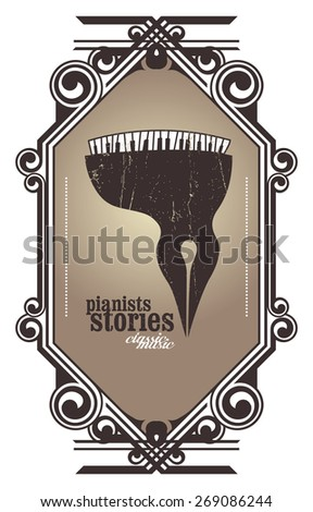 classic music shield with pianists stories message - stock vector