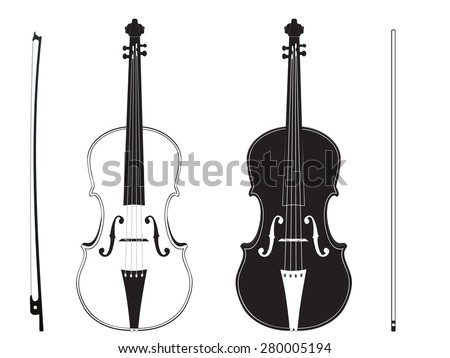 Classic music violin with fiddle stick silhouette on white background. - stock vector