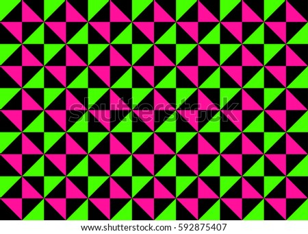 Classic Neon Colors Geometric Pinwheel Seamless Pattern Fluorescent Lime Green Hot Pink With Black