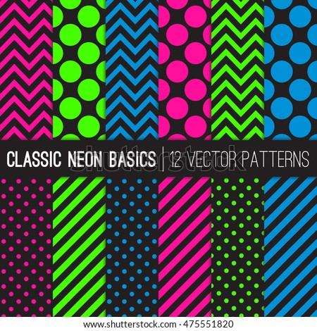 Classic Neon Colors Vector Patterns in Polka Dots, Chevron and Stripes.  Fluorescent Lime,