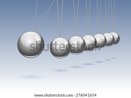 classic Newton's cradle. Concept of teamwork, vector