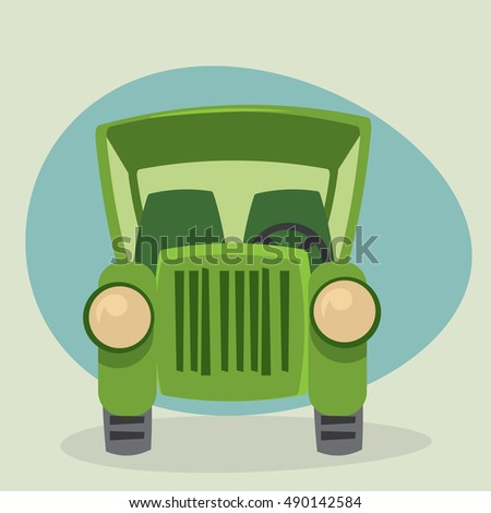 Classic Old Cartoon Car - front view