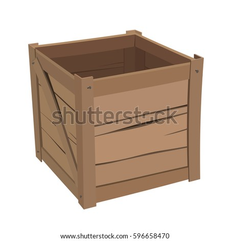 classic open wooden box storage industrial stock vector royalty