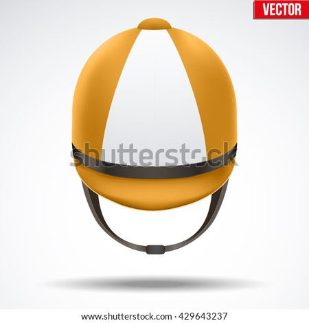Classic Orange and White Jockey helmet for horse riding athlete. Front view of Sport equipment. Vector Illustration isolated on a white background.