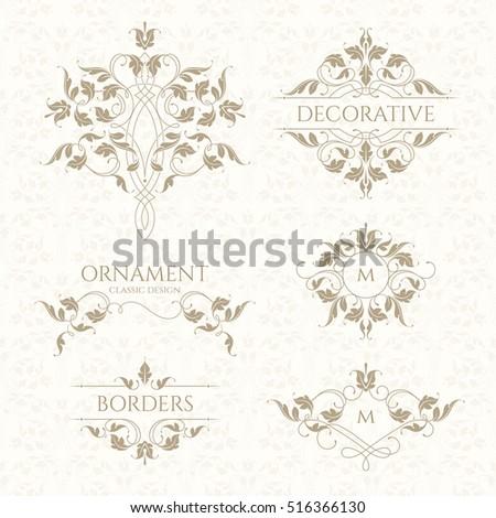 Set decorative monograms borders frames corners stock for Classic border design