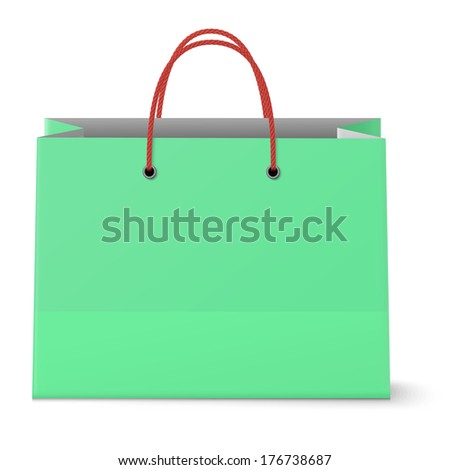 Classic paper shopping green bag with red grips background