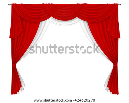 Classic red and white curtain.  Curtains for decorating windows or in the theater scene. Curtain fabric forms creases and pelmets. - stock vector