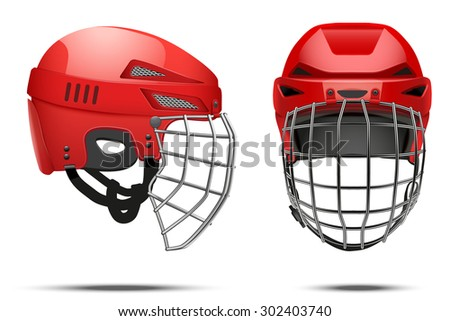 Classic Red Goalkeeper Hockey Helmet with metal protect  visor. Front and side view. Sports Vector illustration isolated on white background. - stock vector