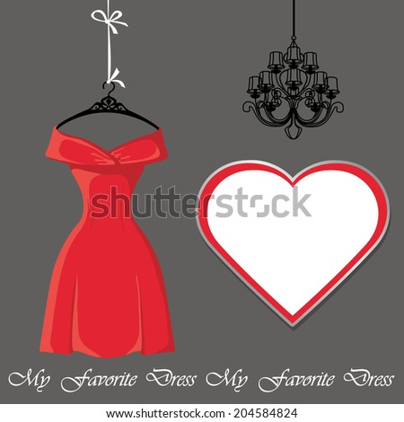 Classic red party dress on the mannequin .Composition with Paisley lace,high heel shoes, ladies handbag and chandelier.Luxury look.Fashion illustration in vector. - stock vector