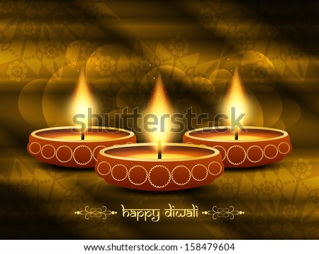 classic religious brown color background design for diwali festival with beautiful lamps. vector illustration