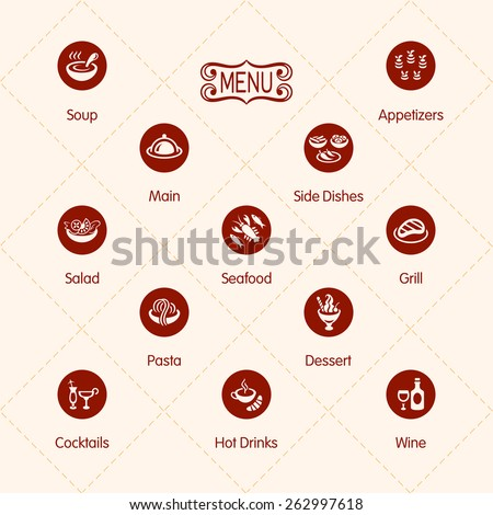 Classic restaurant menu icons isolated - stock vector