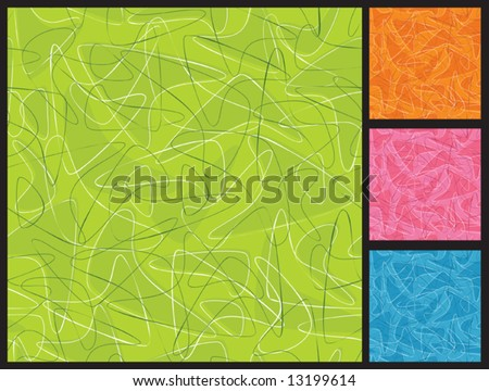 Classic retro boomerang seamless background pattern in 4 colors. Easy to edit colors. - stock vector