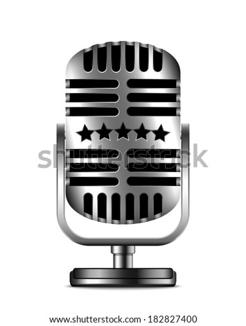 Classic retro microphone icon on white background