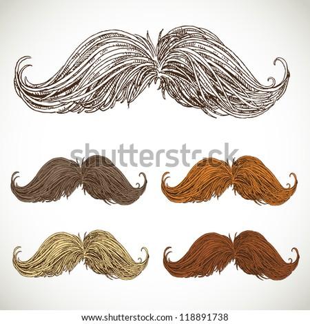 Classic retro twisted mustache set - stock vector