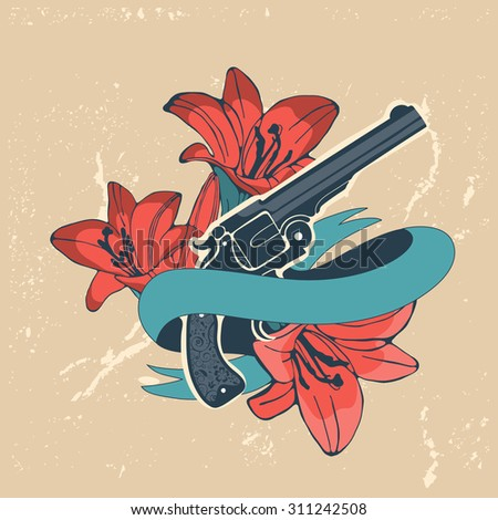 Classic revolvers and lilly flowers emblem. vector illustration - stock vector