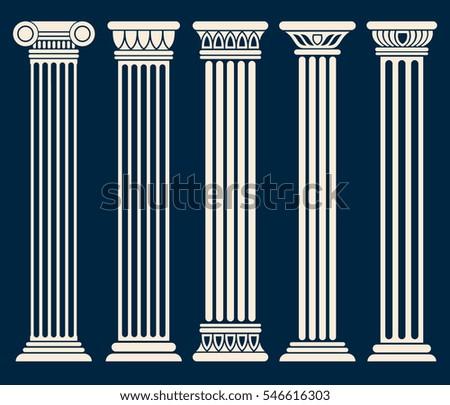 Classic Roman Greek Architecture Columns Vector Set