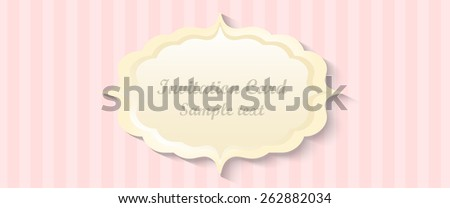 classic romantic invitation design. vector. pink background - stock vector
