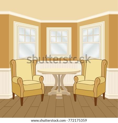 Classic Room Interior Oriel Windows Walls Stock Vector (2018 ...