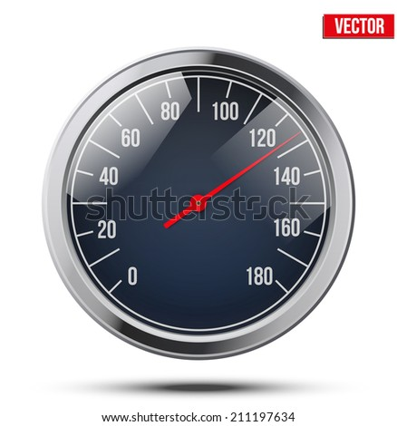Classic round scale Speedometer. Vector Illustration isolated on white background. - stock vector