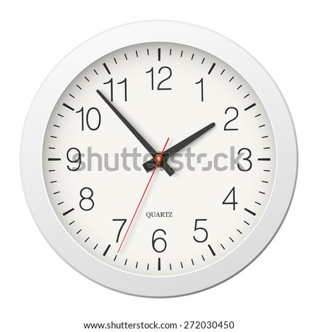 Classic round wall clock with white body - stock vector