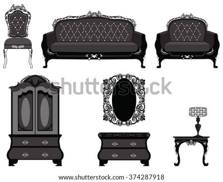 Classic royal ornamented furniture set. Vector - stock vector
