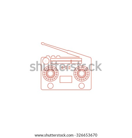 Classic 80s boombox. Red outline vector pictogram on white background. Flat simple icon - stock vector
