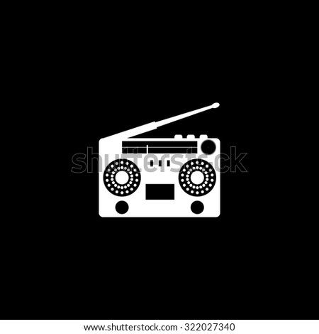Classic 80s boombox. Simple flat icon. Black and white. Vector illustration - stock vector