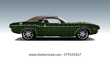 Classic 1970s muscle car. Vector EPS10 isolated, separated layers, quick repaint.
