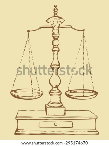 Classic Scale of judge for analysis compare. Vector freehand linear ink drawn sketchy background in art antiquity scribble style pen on paper. View close-up with space for text - stock vector