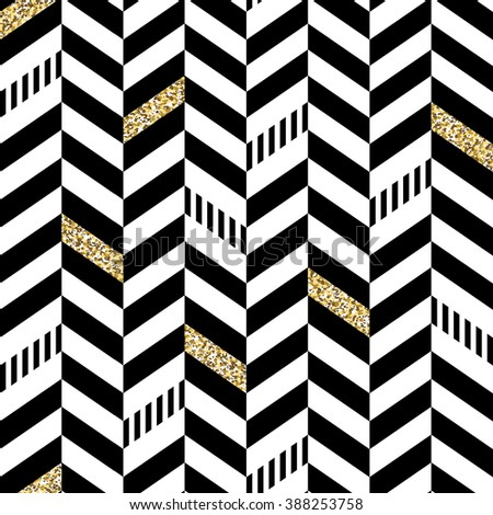 Classic Seamless Chevron Pattern. With Glittering Golden Parts and thin lines - stock vector