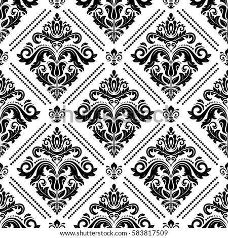 Classic Seamless Vector Black And White Pattern Traditional Orient Ornament Vintage Background