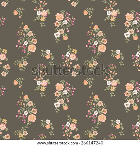classic seamless vintage ditsy flower pattern vector - stock vector