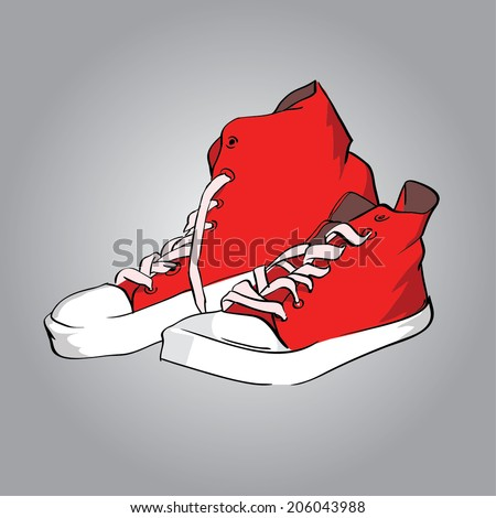 classic shoes, red gumshoes - stock vector