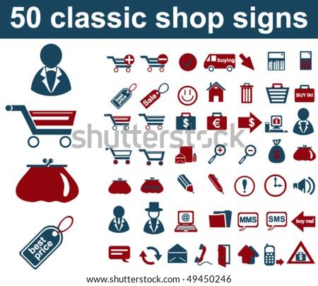 Classic Shop Signs - stock vector