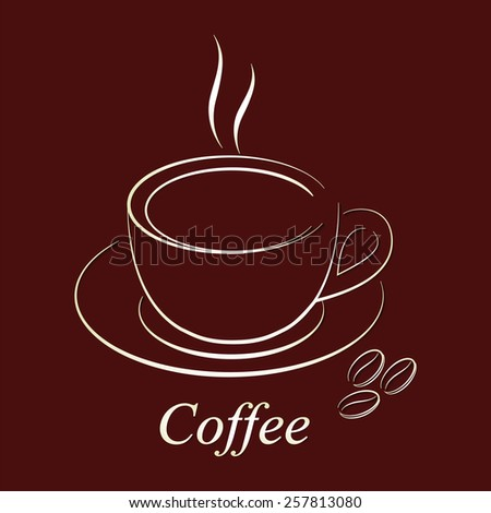 Classic silhouette a cup of coffee with saucer and coffee beans on a dark burgundy background. Vector paper silhouette with shadow for restaurants and Coffee shop. - stock vector