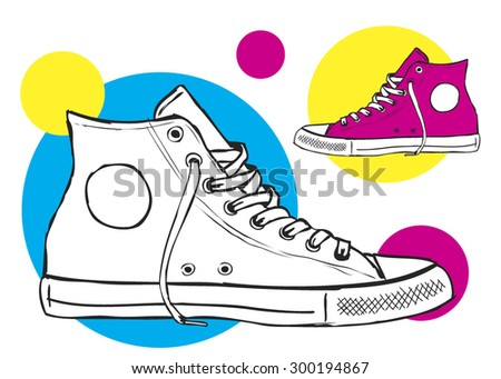 classic sneaker sketched VECTOR fully editable