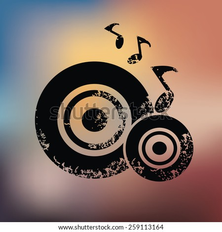 Classic song design on blur background,grunge vector - stock vector