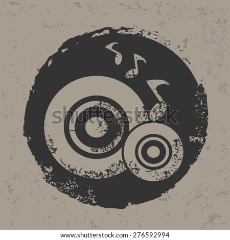 Classic song design on grunge background, grunge vector - stock vector