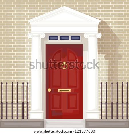 classic style front door , vector without gradient - stock vector