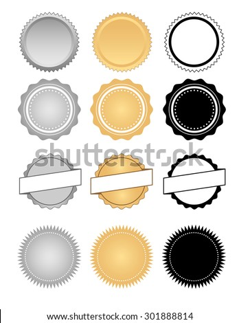Classic style seals, badges, stamps, labels and wax emblem set in silver and gold gradients including one color black versions - stock vector