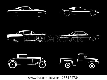 Classic Style Vehicle Silhouettes 1 - stock vector