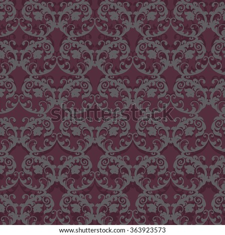 Classic Stylized ornament pattern in Bordeaux color. Vector