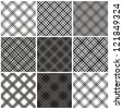 Classic textile seamless patterns, monochrome vector backgrounds set. - stock vector