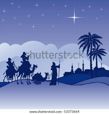 Classic three magi scene and shining star of Bethlehem. - stock vector