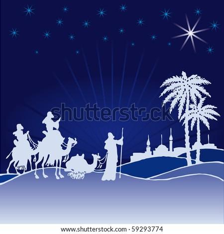 Classic three magic scene and shining star of Bethlehem. - stock vector