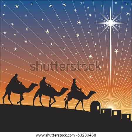 Classic three magic scene and shining star of Bethlehem.
