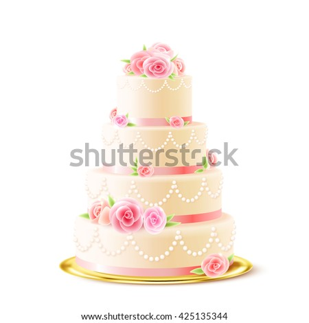 Classic 3 tiered delicious wedding cake with white icing decorated with cream roses realistic image vector illustration